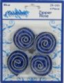 Zipper Roses Blue, Pack of 4 - Part Number: ZR-005